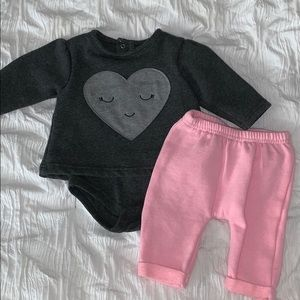 Baby Girl 0-3 Month Sweat Outfit